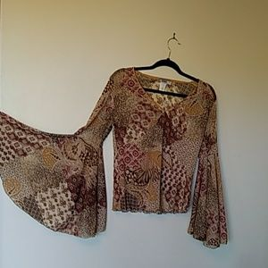 TOTO Blouse wide sleeves browns plus sz 1X